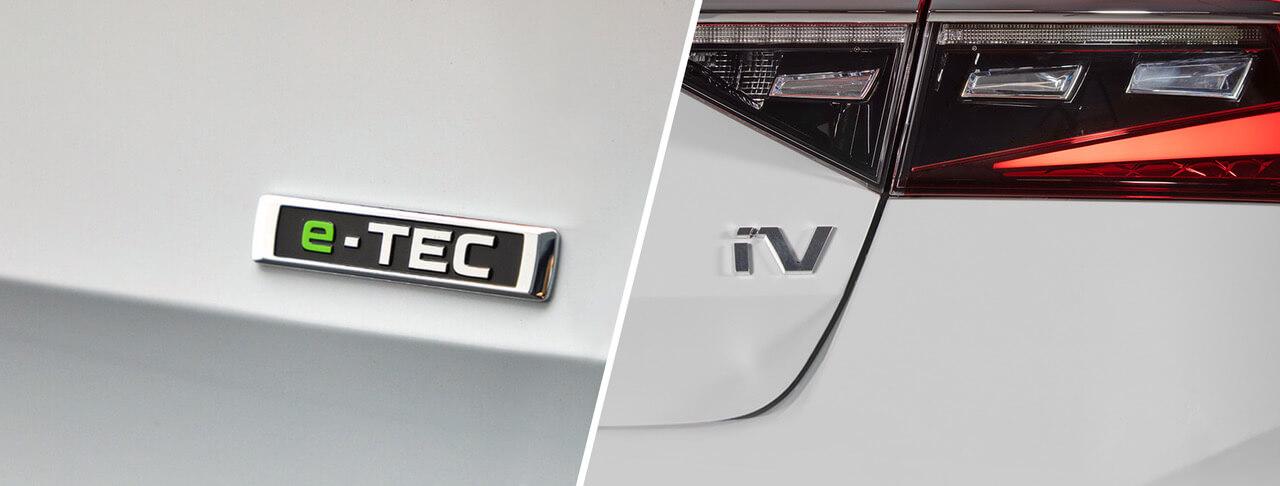 SKODA iV και e-Tec διακριτικά σήματα